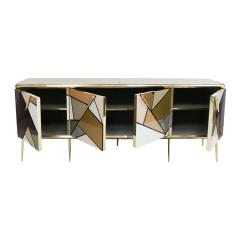 Mid Century Modern Solid Wood and Colored Glass Italian Sideboard - 2098347