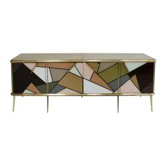 Mid Century Modern Solid Wood and Colored Glass Italian Sideboard - 2098348