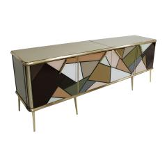 Mid Century Modern Solid Wood and Colored Glass Italian Sideboard - 2098349