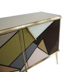 Mid Century Modern Solid Wood and Colored Glass Italian Sideboard - 2098350