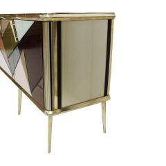 Mid Century Modern Solid Wood and Colored Glass Italian Sideboard - 2098352