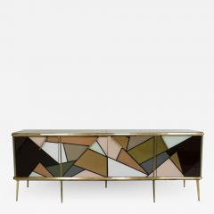 Mid Century Modern Solid Wood and Colored Glass Italian Sideboard - 2098865