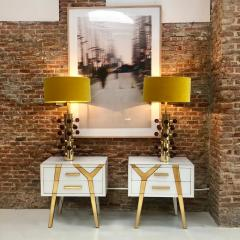 Mid Century Modern Style Pair of Brass and Murano Glass Italian Table Lamps - 1087700