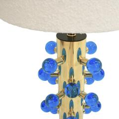 Mid Century Modern Style Pair of Brass and Murano Glass Italian Table Lamps - 1833125