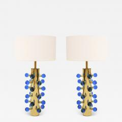 Mid Century Modern Style Pair of Brass and Murano Glass Italian Table Lamps - 1834326