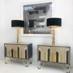 Mid Century Modern Style Pair of Sculptural Murano Glass Italian Table Lamps - 1053875
