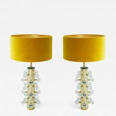 Mid Century Modern Style Pair of Sculptural Murano Glass Italian Table Lamps - 1090962