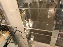 Mid Century Modern Tall Lucite Mirror Gold Tone Metal Cabinet w Lighting - 613225