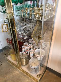 Mid Century Modern Tall Lucite Mirror Gold Tone Metal Cabinet w Lighting - 613226