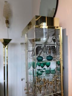 Mid Century Modern Tall Lucite Mirror Gold Tone Metal Cabinet w Lighting - 613227
