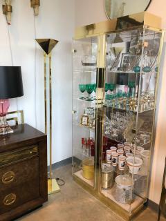 Mid Century Modern Tall Lucite Mirror Gold Tone Metal Cabinet w Lighting - 613229