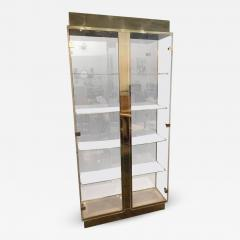 Mid Century Modern Tall Lucite Mirror Gold Tone Metal Cabinet W Lighting    615330