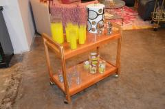 Mid Century Modern Teak and Brass Beverage Bar or Tea Cart with Brass Details - 615577