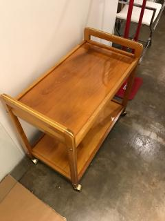 Mid Century Modern Teak and Brass Beverage Bar or Tea Cart with Brass Details - 615583