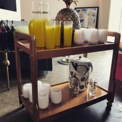 Mid Century Modern Teak and Brass Beverage Bar or Tea Cart with Brass Details - 615586