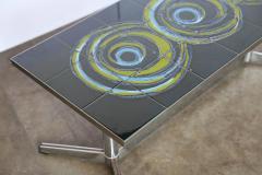 Mid Century Modern Vallouris Handmade Tile Table Top on Chromed Steel Base - 614209