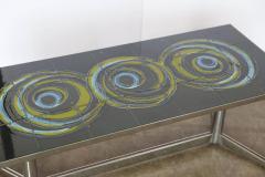 Mid Century Modern Vallouris Handmade Tile Table Top on Chromed Steel Base - 614210