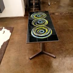 Mid Century Modern Vallouris Handmade Tile Table Top on Chromed Steel Base - 615598