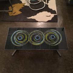 Mid Century Modern Vallouris Handmade Tile Table Top on Chromed Steel Base - 615599