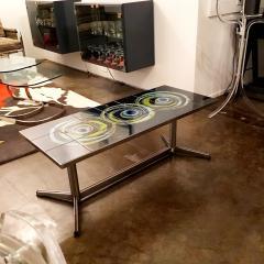 Mid Century Modern Vallouris Handmade Tile Table Top on Chromed Steel Base - 615601