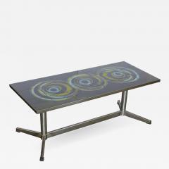 Mid Century Modern Vallouris Handmade Tile Table Top on Chromed Steel Base - 616182