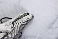 Mid Century Modern Vintage Whale Vinegarroon Pewter Buckle Belt - 1181001