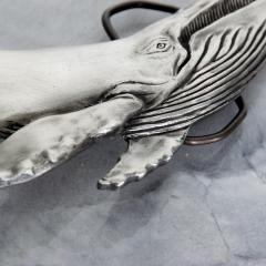 Mid Century Modern Vintage Whale Vinegarroon Pewter Buckle Belt - 1181002