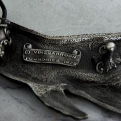 Mid Century Modern Vintage Whale Vinegarroon Pewter Buckle Belt - 1181007