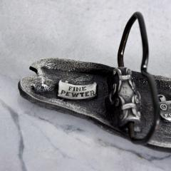 Mid Century Modern Vintage Whale Vinegarroon Pewter Buckle Belt - 1181009