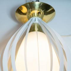 Mid Century Modern White Enamel Brass and Frosted Glass Lantern Chandelier - 1459884