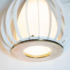 Mid Century Modern White Enamel Brass and Frosted Glass Lantern Chandelier - 1459885