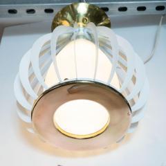 Mid Century Modern White Enamel Brass and Frosted Glass Lantern Chandelier - 1459886
