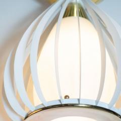 Mid Century Modern White Enamel Brass and Frosted Glass Lantern Chandelier - 1459887