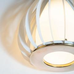 Mid Century Modern White Enamel Brass and Frosted Glass Lantern Chandelier - 1459888