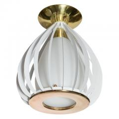 Mid Century Modern White Enamel Brass and Frosted Glass Lantern Chandelier - 1459889