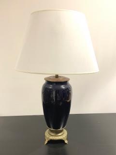 Mid Century Modern dark blue single ceramic bronze table lamp France 1950s - 1763355
