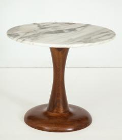 Mid Century Modern side table Walnut and Marble Top  - 822495