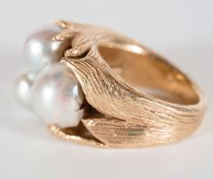 Mid Century Modernist Leaf Design Pearl and Gold Ring - 1613023