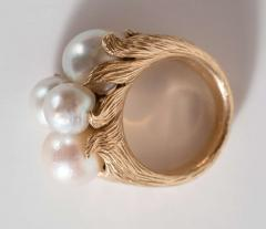 Mid Century Modernist Leaf Design Pearl and Gold Ring - 1613028