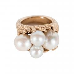 Mid Century Modernist Leaf Design Pearl and Gold Ring - 1618073