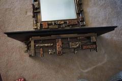 Mid Century Modernist Syroco Brutalist Mirror with Shelf - 1796249