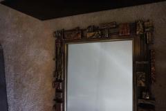 Mid Century Modernist Syroco Brutalist Mirror with Shelf - 1796251