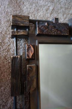 Mid Century Modernist Syroco Brutalist Mirror with Shelf - 1796255