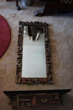 Mid Century Modernist Syroco Brutalist Mirror with Shelf - 1796265