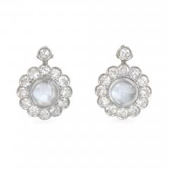 Mid Century Moonstone and Diamond Cluster Earrings in White Gold - 1022303