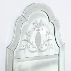 Mid Century Neoclassical Style Etched Scalloped Mirror with Foliate Detailing - 1733360