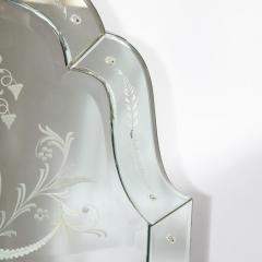 Mid Century Neoclassical Style Etched Scalloped Mirror with Foliate Detailing - 1733362