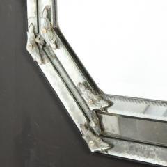 Mid Century Octagonal Mosaic Chain Beveled Antiqued Mirror w Appliques - 1949922