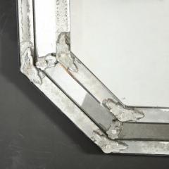 Mid Century Octagonal Mosaic Chain Beveled Antiqued Mirror w Appliques - 1949924