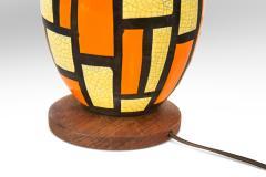 Mid Century Orange and Yellow Ceramic Lamp - 1064521
